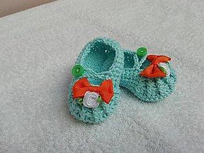 Topánočky - háčkované capačky-baleríny - 9526756_