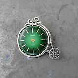 Odznaky/Brošne - Staré KOLO, brož se zeleným ciferníkem, steampunk - 9526897_