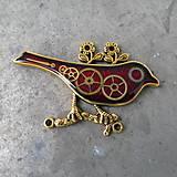 Odznaky/Brošne - ČERVENÝ PTÁČEK, brož, z hodinek, steampunk - 9526917_
