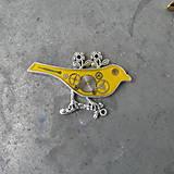 Odznaky/Brošne - ČERVENÝ PTÁČEK, brož, z hodinek, steampunk - 9526919_