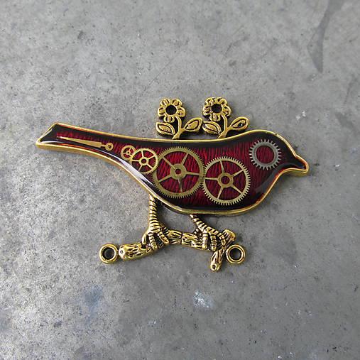 ČERVENÝ PTÁČEK, brož, z hodinek, steampunk