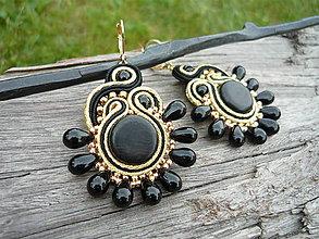 Náušnice - Soutache náušnice Luxury Eben...Black&Gold - 9523773_