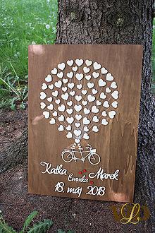 Obrazy - Svadobný bike - kniha hostí pre 70 ľudí - 9526936_