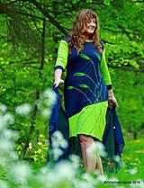 Šaty - Dámske šaty midi, šité, maľované TULIPÁNKY - 9525253_