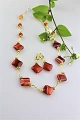 náhrdelník a náušnice z ohnivého achátu - luxusný set