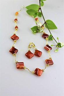 Sady šperkov - náhrdelník a náušnice z ohnivého achátu - luxusný set - 9526679_