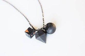 Náhrdelníky - Betónový mix trio náhrdelník black/metallic - 9524523_