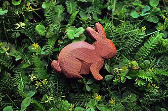 Odznaky/Brošne - Drevená brošňa králik - 9527014_