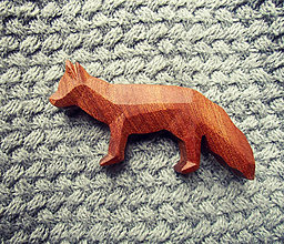 Odznaky/Brošne - Drevená brošňa líška hrdzavá - 9527039_