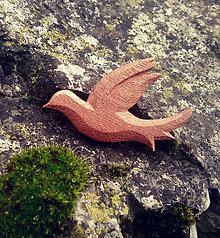 Odznaky/Brošne - Drevená brošňa holubička drevená - 9527065_