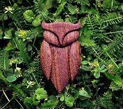 Odznaky/Brošne - Drevená brošňa sova lesná - 9527069_
