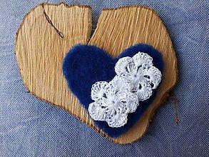 Dekorácie - Srdiečková nášivka Blue&White - 9526838_