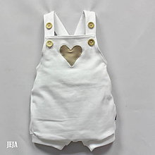 Detské oblečenie - Biele opaľovačky so srdiečkom - 9525024_