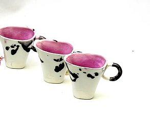 Nádoby - šálka presso biela , ružová , čierna - 9523979_
