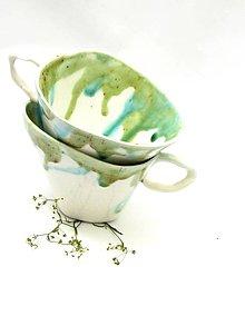 Nádoby - šálka zeleno biela - 9525438_