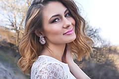 Náušnice - Svadba 2018 - šujtášové náušnice napichovačky (Modrá - ivory) - 9525853_