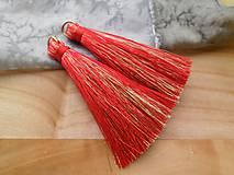 - Veľké hodvábne strapčeky - pár (Červené) - 9524849_