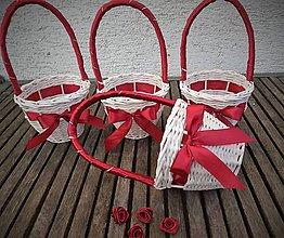 Dekorácie - košíček pre družičku (bordová) - 9530099_