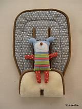 Textil - MERINO podložka do kočíka BUGABOO Bee / Buffalo/ Cameleon/ Donkey/ Joolz 100% WOOL Seat Liner Grey star Hviezdička sivá šedá - 9528769_