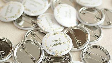 Darčeky pre svadobčanov - Svadobný odznak, svadobná brošňa, button - 9529562_