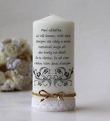 Svietidlá a sviečky - Sviečka s venovaním pre pani učiteľku IV. - 9529570_