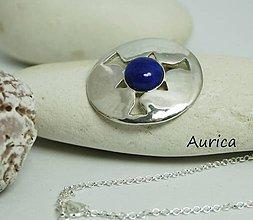 Náhrdelníky - Strieborné kolečko Ag 925 na retiazke s lapis lazuli - 9529477_