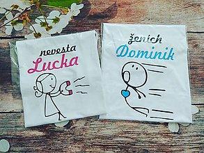 Tričká - Tričká Magnet na lásku - nevesta, ženích - 9530822_