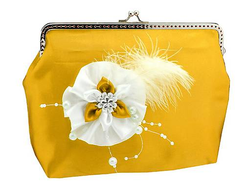 92b36530a0 Saténová spoločenská kabelka žlto biela HZUI4   svadba-nevesta ...