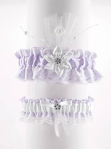 Bielizeň/Plavky - set podväzok fialový saténový s čipkou pre nevestu 10C (Bordová) - 9530155_