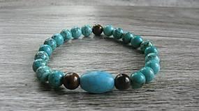 Šperky - Pánsky náramok pružný prírodný z minerálov - 9528009_