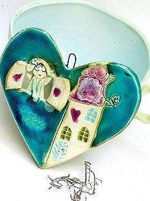 Dekorácie - srdce s anjelom - 9529552_
