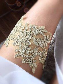 Bielizeň/Plavky - Luxusný čipkový svadobný podväzok Gold - 9531497_