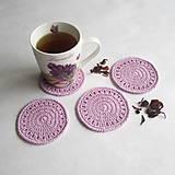 Úžitkový textil - Podložky pod šálky - sada fialková - 9529710_