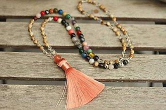 Náhrdelníky - Mala náhrdelník z minerálov jaspis, krištáľ, mix - 9529563_