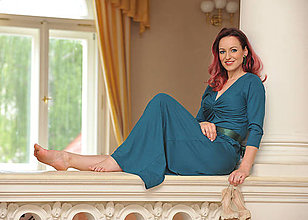 Šaty - Anett Bohyňa Emerald, vel. S/M - 9528981_