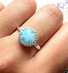 Prstene - Larimar & Silver Ag 925 Ring / Strieborný prsteň s larimarom /0226 - 9533327_