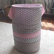Košíky - Textilný kôš Šedo-Ružový*50* - 9532204_