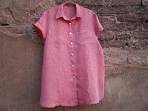 Košele - Lněná košile-prodloužená L - 9533294_