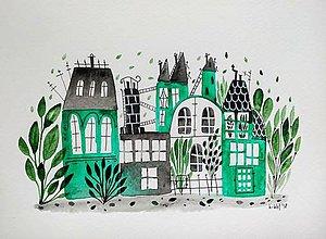 Obrazy - Zelené mesto ilustrácia  / originál maľba - 9533071_