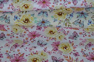 Textil - Látka Modrý alebo Ružový motýľ na ruži - 9532757_
