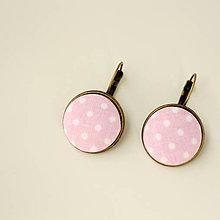 Náušnice - Náušnice na francúzskych háčikoch Ružové bodkované - 9533454_