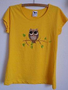Tričká - Dámske žlté tričko - Sovička - 9534365_