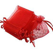 Obalový materiál - VO101 Organzové vrecúško 7 x 9 cm (červené) - 9534397_