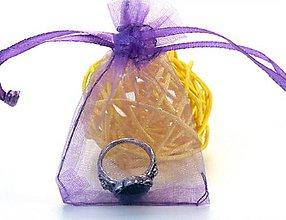 Obalový materiál - VO101 Organzové vrecúško 7 x 9 cm (tmavo fialové) - 9534475_