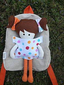 Batohy - Batoh s bodkovanou bábikou - 9534626_