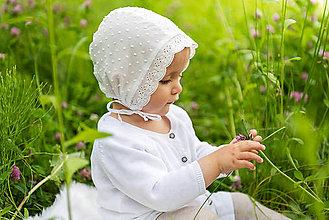 Detské čiapky - Ultraľahký čepček batist & ivory s krajkou - 9534573_