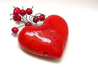 Dekorácie - srdce červené  hrkálka - 9532658_