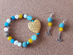 Sady šperkov - Sada náramok a náušnice Lávové srdce, Jadeit, Kryštáľ, Lávový kameň, Tigrie oko, Tyrkenit - 9533520_