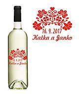 Darčeky pre svadobčanov - Svadobné etikety na fľaše - FOLK II - 9533629_