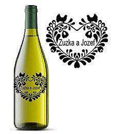 Darčeky pre svadobčanov - Svadobné etikety na fľaše - FOLK SRDCE (Červená) - 9533373_